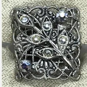 Vintage Filigree Crystal Ring